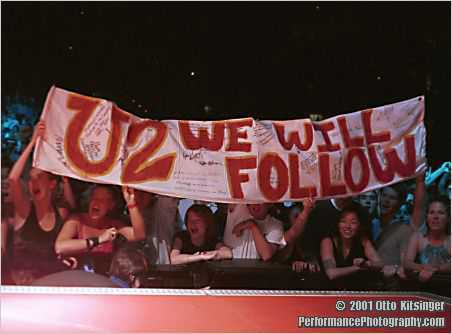 Live concert photo of fan banner