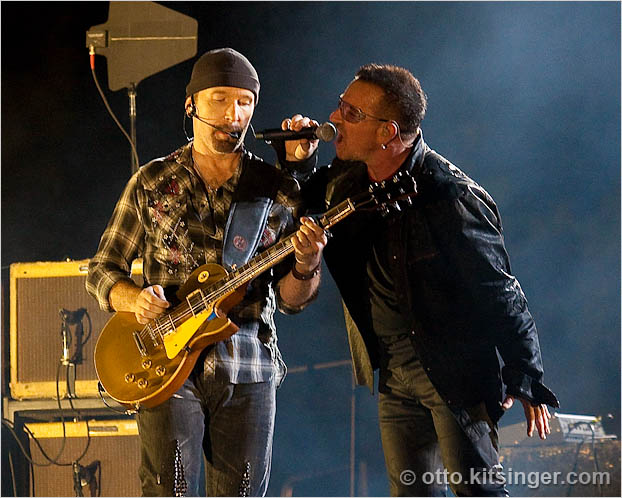 Live concert photo of The Edge, Bono