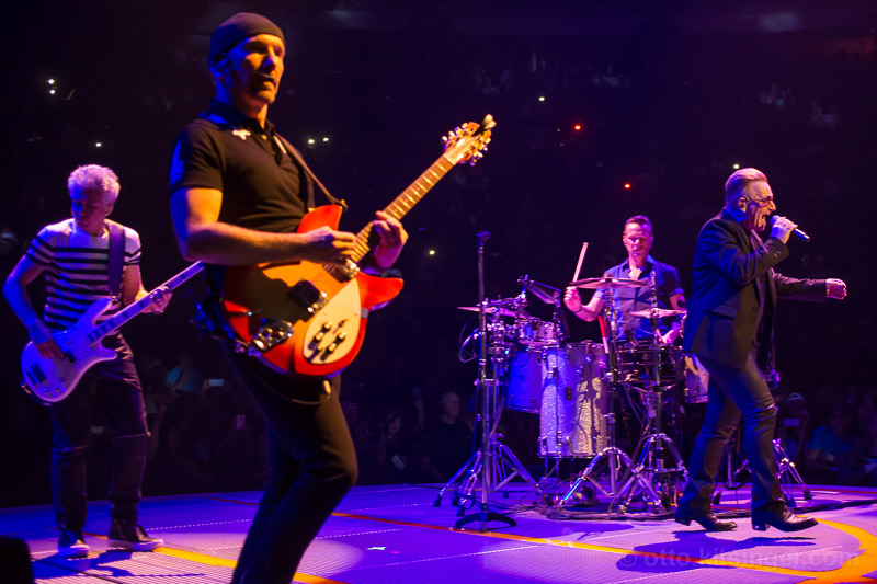Live concert photo of Adam Clayton, The Edge, Larry Mullen Jr, Bono