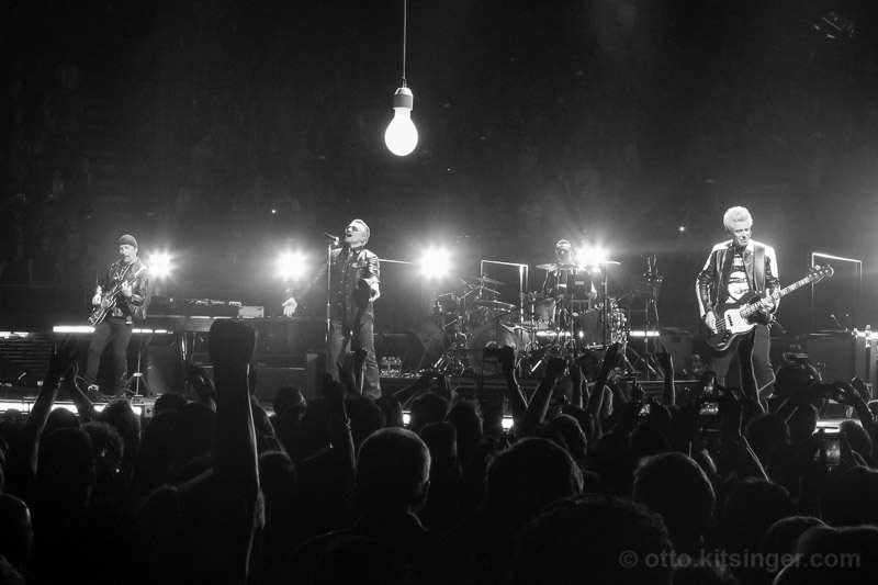 Live concert photo of The Edge, Bono, Larry Mullen Jr, Adam Clayton