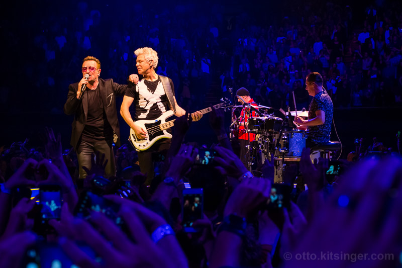 Live concert photo of Bono, Adam Clayton, The Edge, Larry Mullen Jr