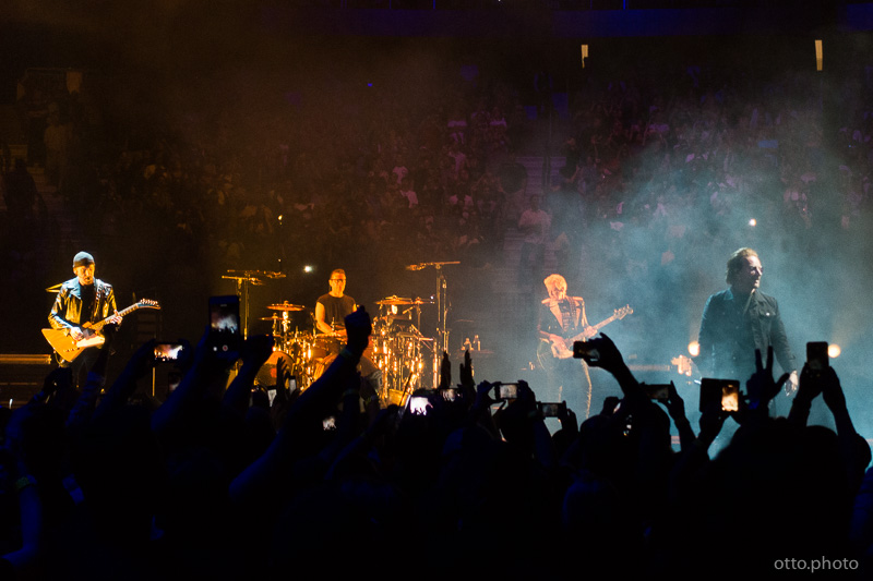 Live concert photo of The Edge, Larry Mullen Jr, Adam Clayton, Bono